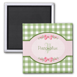 Girly Green Gingham Monogram With Name Magnet
