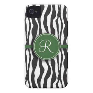 Girly Green Monogram Zebra Print iPhone 4 Case-Mate Case