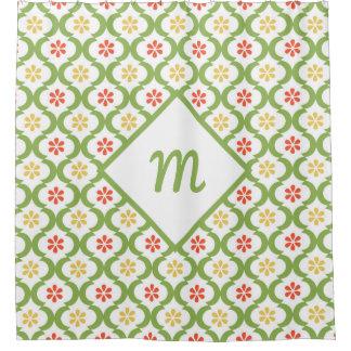 Girly Green Quatrefoil Cute Daisies and Monogram