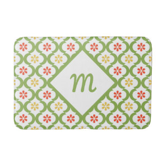Girly Green Quatrefoil Cute Daisies and Monogram Bath Mat