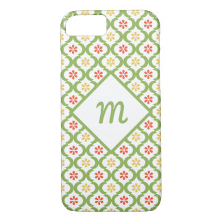 Girly Green Quatrefoil Cute Daisies and Monogram iPhone 8/7 Case
