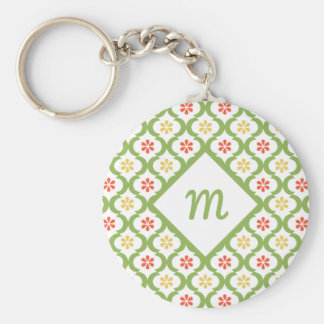 Girly Green Quatrefoil Cute Daisies and Monogram Keychain