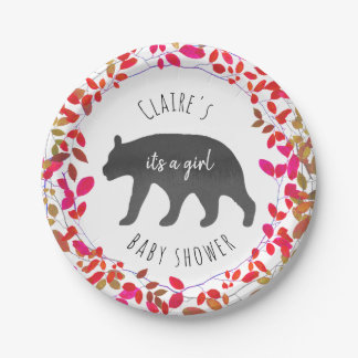 Girly Greenery Cub Baby Shower Paper Plate