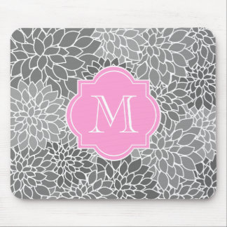 Girly Grey Floral Pink Custom Monogram Mousepad