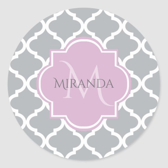 Girly Grey Quatrefoil Lavender Monogram and Name Classic Round Sticker