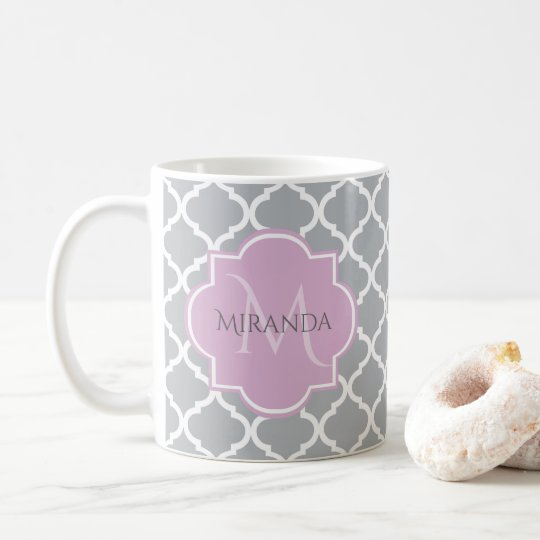 Girly Grey Quatrefoil Lavender Monogram and Name Coffee Mug