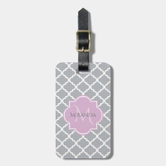 Girly Grey Quatrefoil Lavender Monogram and Name Luggage Tag