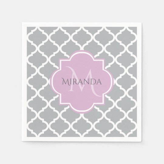 Girly Grey Quatrefoil Lavender Monogram and Name Paper Napkins