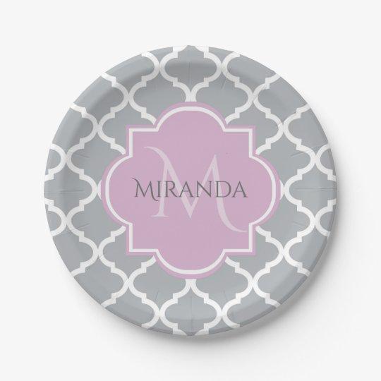 Girly Grey Quatrefoil Lavender Monogram and Name Paper Plate