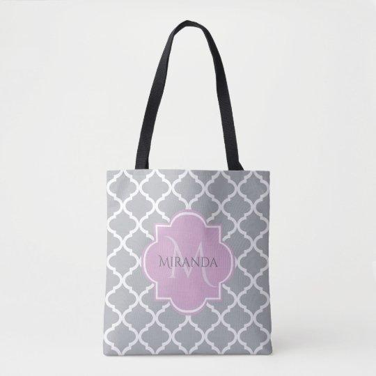 Girly Grey Quatrefoil Lavender Monogram and Name Tote Bag