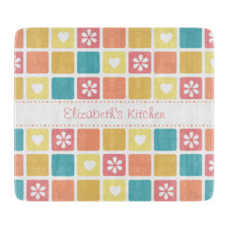 Girly Heart Square Pattern Retro Daisy Flowers Cutting Board