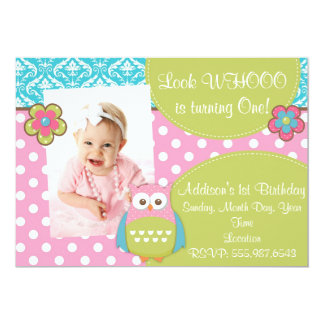 Girly Hoot Owl Design Birthday Invitation