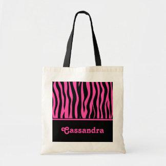 Girly hot pink and black zebra stripes tote bag