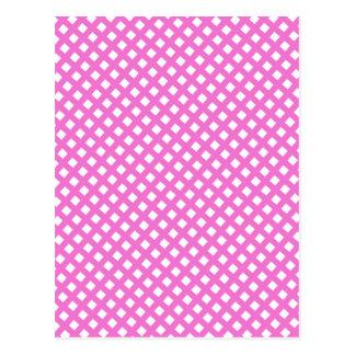 Girly Hot Pink Criss Cross Pattern Postcard