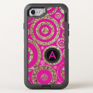 Girly Hot Pink Cute Glitter | Monogrammed Funky OtterBox Defender iPhone 8/7 Case