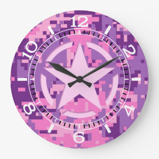 Girly Hot Pink Digital Camouflage Camo Dial Large Clock