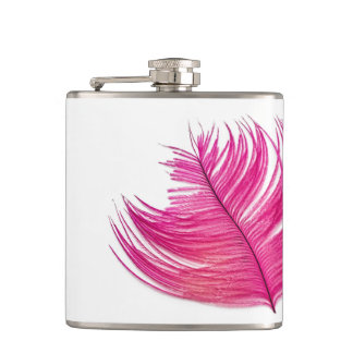 Girly Hot Pink Feather Custom Flask 6oz Flask