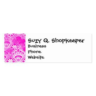 Girly Hot Pink Fuchsia White Lace Damask Business Cards