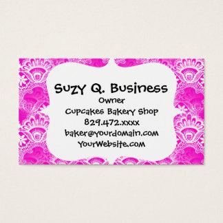 Girly Hot Pink Fuchsia White Lace Damask Business Card