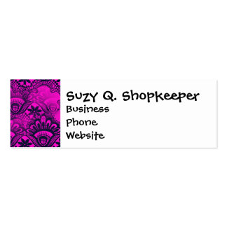 Girly Hot Pink Fuschia Navy Blue Damask Lace Business Cards
