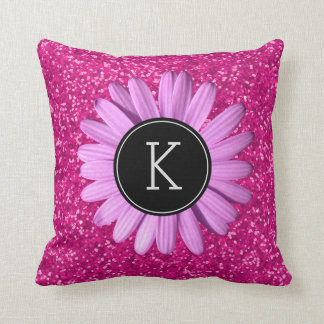 Girly Hot Pink Glitter Flower | Custom Monogram Throw Pillow