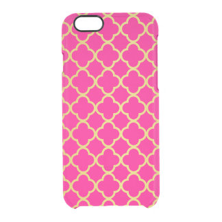 Girly Hot Pink Gold Quatrefoil Pattern Transparent Clear iPhone 6/6S Case