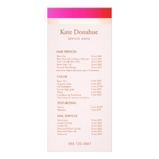 Girly Hot Pink Gold Stripe Salon Price List Menu