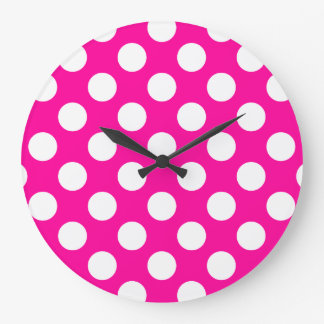 Girly Hot Pink Polka Dot Pattern Large Clock