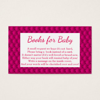 Girly Hot Pink Princess Book Request Business Card