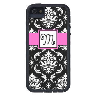GIRLY INITIAL, PINK, BLACK VINTAGE DAMASK PATTERN iPhone 5 COVER