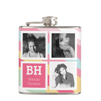Girly Instagram Selfies Personalized Photo Flasks