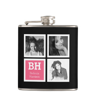 Girly Instagram Selfies Personalized Photo Hip Flask