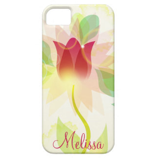 Girly iPhone5 Pink Abstract Watercolor Tulips iPhone 5 Case