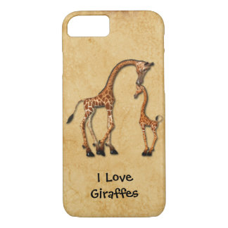 Girly iPhone 7 case Mother Baby Giraffes