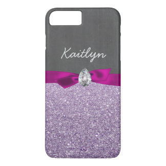 Girly Lavender Glitter Ribbon Diamond Chalkboard iPhone 7 Plus Case