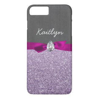 Girly Lavender Glitter Ribbon Diamond Chalkboard iPhone 8 Plus/7 Plus Case
