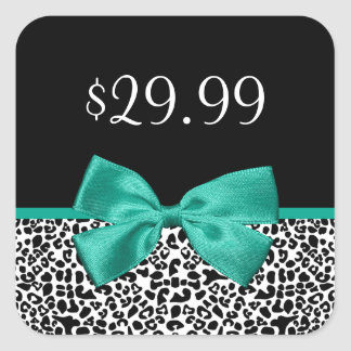 Girly Leopard Print Emerald Green Ribbon Price Tag Square Sticker