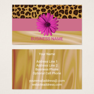 Girly Leopard Print Hot Pink Daisy Satin Glamour Business Card