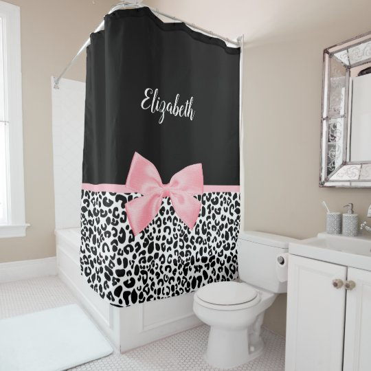 Girly Leopard Print Pattern With Pink Bow and Name