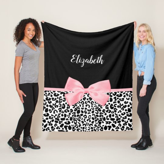 Girly Leopard Print Pattern With Pink Bow and Name Fleece Blanket