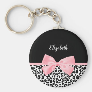 Girly Leopard Print Pattern With Pink Bow and Name Keychain
