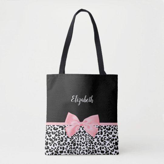 Girly Leopard Print Pattern With Pink Bow and Name Tote Bag