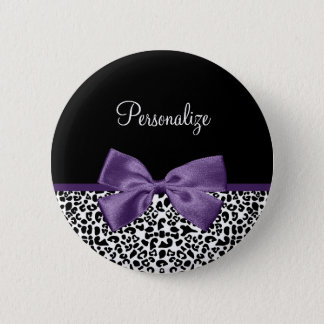 Girly Leopard Print Pretty Purple Ribbon With Name 2 Inch Round Button