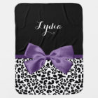 Girly Leopard Print Pretty Purple Ribbon With Name Baby Blanket