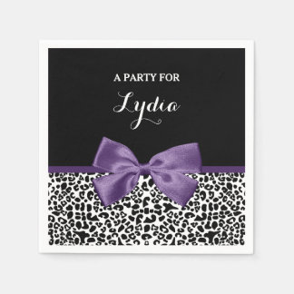 Girly Leopard Print Pretty Purple Ribbon With Name Disposable Napkin