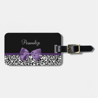 Girly Leopard Print Pretty Purple Ribbon With Name Luggage Tag
