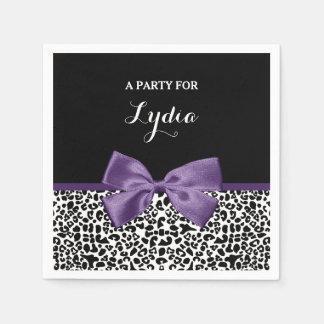 Girly Leopard Print Pretty Purple Ribbon With Name Napkin