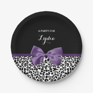 Girly Leopard Print Pretty Purple Ribbon With Name Paper Plate