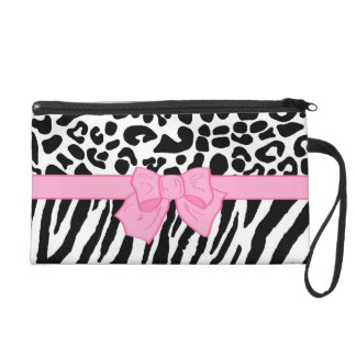 Girly Leopard Zebra Animal Print and Cute Pink Bow Wristlet Clutch