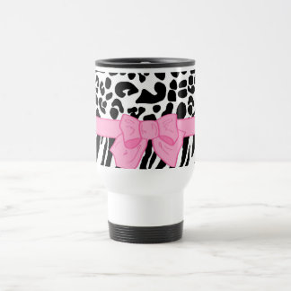 Girly Leopard Zebra Animal Print and Cute Pink Bow Stainless Steel Travel Mug